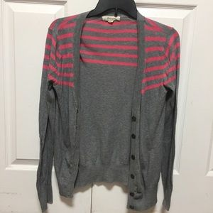 Forever 21 woman's gray cardigan with pink stripes